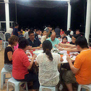 Family Dining at Kukup Resort